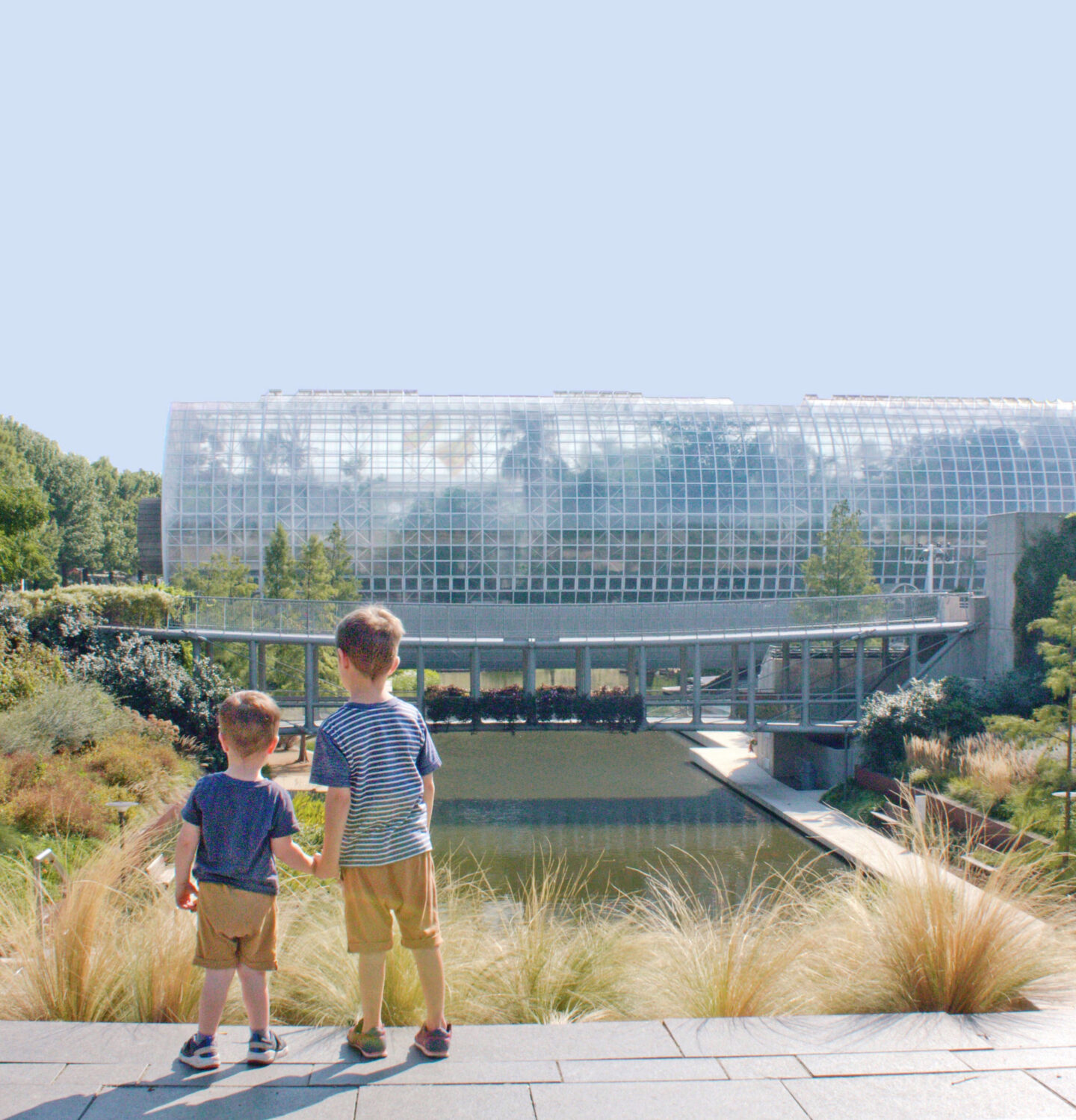 Two boys in the Myriad Gardens in Oklahoma City